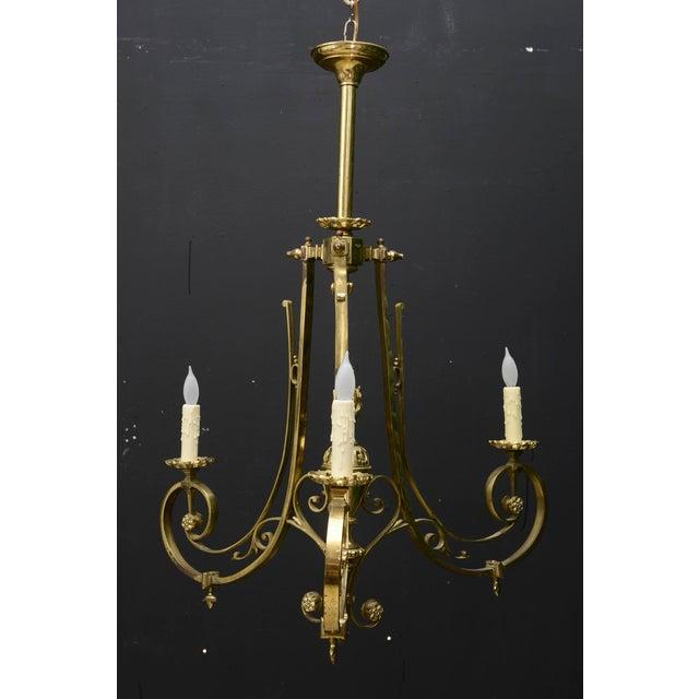 Napoleon III 1900s French Napoleon III Bronze Three-Arm Chandelier For Sale - Image 3 of 11