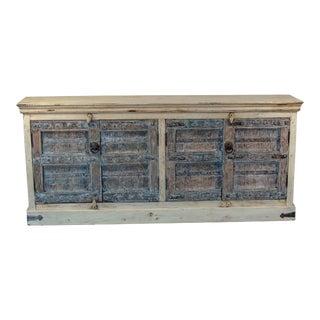 Vintage Indian Bleached Wooden 4-Door Sideboard For Sale