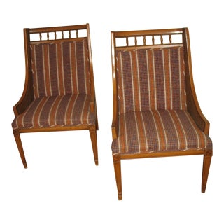 1960s Vintage Striped Chairs-a Pair For Sale