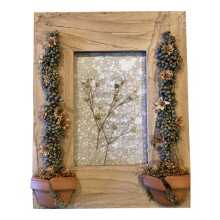 Rustic Handcrafted Garden Themed Picture Frame For Sale