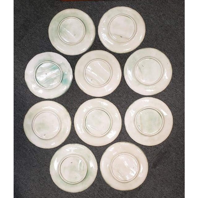 C. 1890 French Creil Et Montereau Barbotine Majolica Porcelain Fluted Asparagus Plates - Set of 10 For Sale - Image 4 of 7