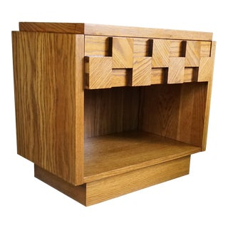 1970s Brutalist Lane Staccato Nightstand With Drawer For Sale