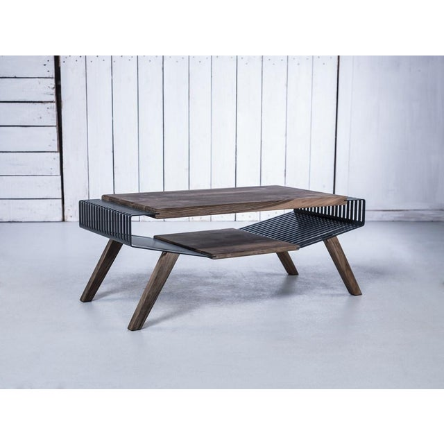 Solid Wood & Perforated Steel Coffee Table - Image 4 of 8