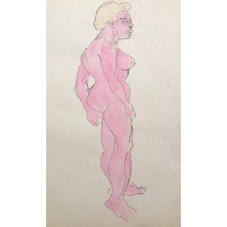 Figurative Watercolor of Female Nude 1950s For Sale
