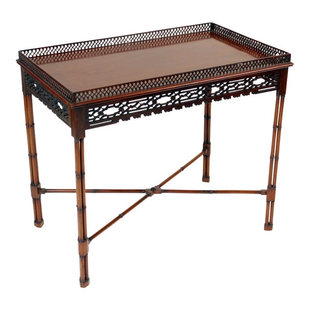 Chinese Chippendale Style Mahogany Tea Table For Sale