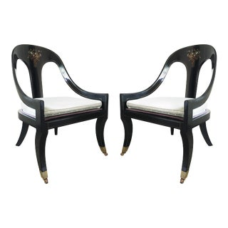 Lacquered and Mother of Pearl Inlaid Spoon Back Chairs - A Pair For Sale