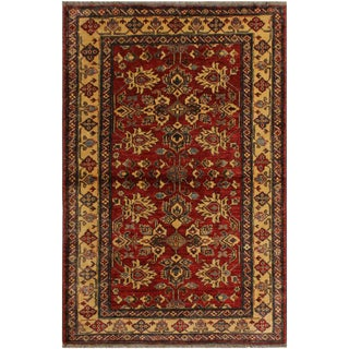 Super Kazak Garish Carroll Red/Tan Wool Rug - 4'1 X 5'5