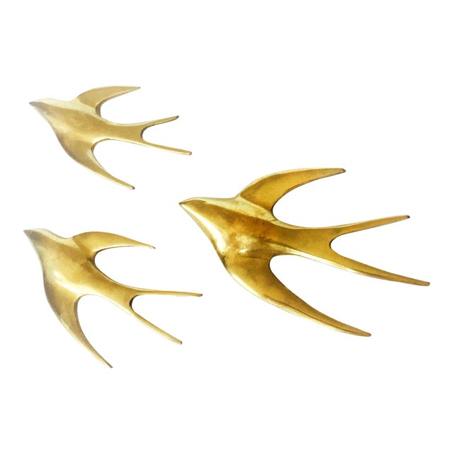Set of 3 Vintage Brass Swallow Bird Wall Hangings - Image 1 of 6