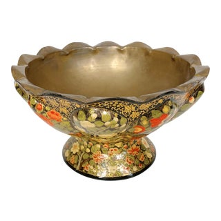 Vintage Floral Brass Footed Bowl For Sale