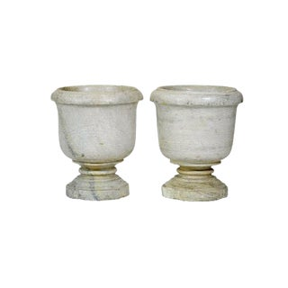 20th Century Indian Alabaster Urns - a Pair For Sale