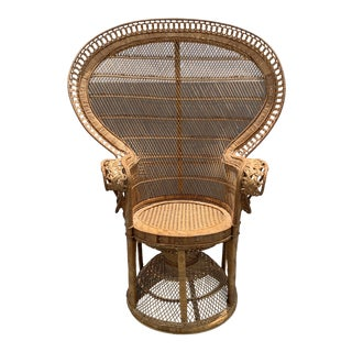 Vintage Wicker Peacock Chair For Sale