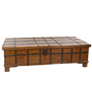 Large Anglo-Indian Solid Teak and Iron Strapwork Trunk on Square Feet, Iron Hinges, India Circa 1860 For Sale