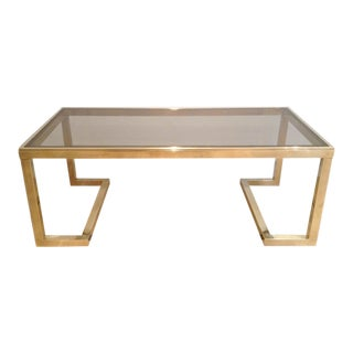 1960's Guy Lefevere Solid Brass Coffee Table For Sale