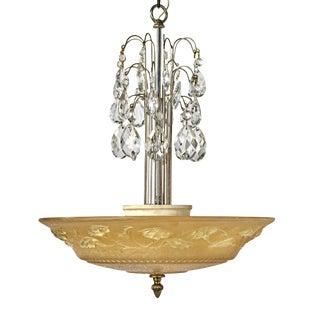 1930s Art Deco French Peach Glass Bowl Pendant Light Fixture For Sale
