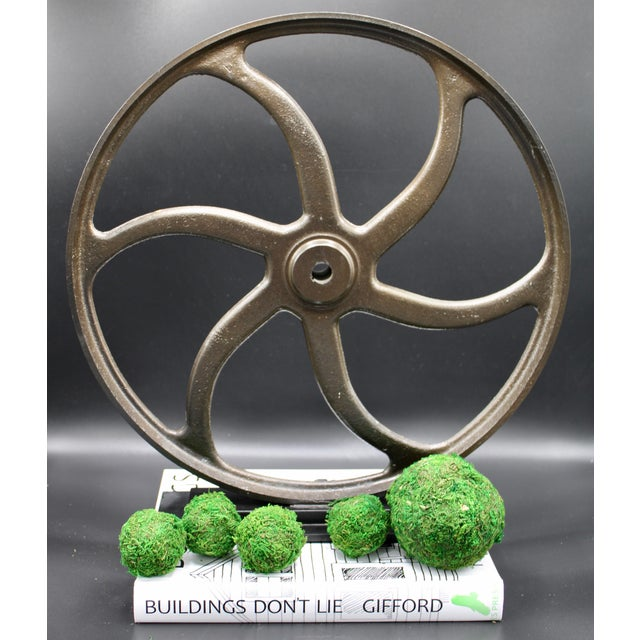 Vintage Lathe Wheel on Custom Mount For Sale - Image 9 of 10