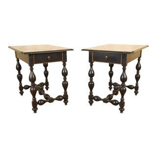 Ebonized Wood End Tables - a Pair For Sale
