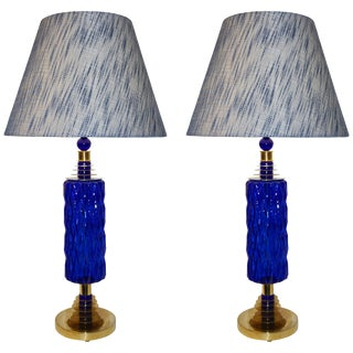 Contemporary Italian Brass and Cobalt Blue Murano Glass Table Lamps with Shades - a Pair For Sale
