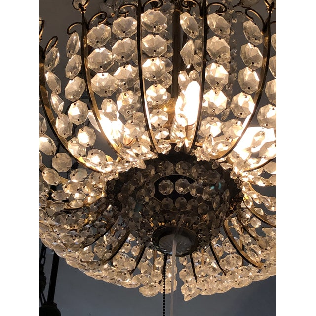 Mid-Century Modern Cascading Crystal Chandelier For Sale In Philadelphia - Image 6 of 12