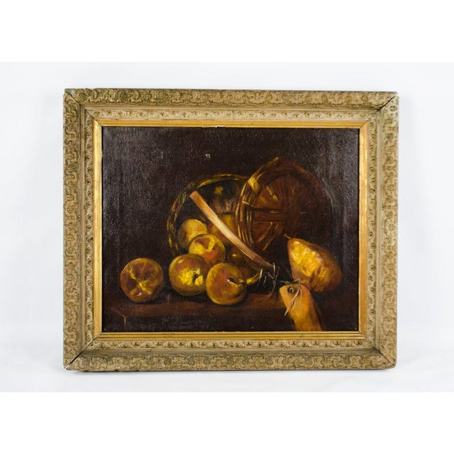 Early 20th Century Antique Fruit Basket Still Life Oil on Canvas Painting For Sale - Image 13 of 13