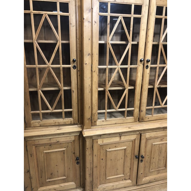 Chippendale Chippendale Solid Knotty Pine and Glass Breakfront Bookcase For Sale - Image 3 of 10