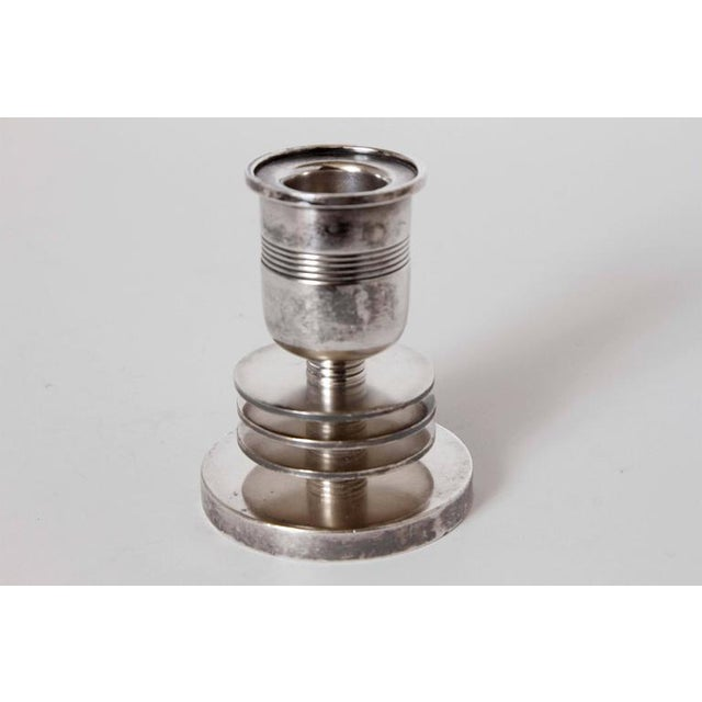 Art Deco Machine Age Art Deco Silver Candlesticks, Lurelle Guild for International Silver For Sale - Image 3 of 11