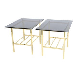 1960s Vintage Solid Brass and Smoked Glass European Side Tables- A Pair For Sale