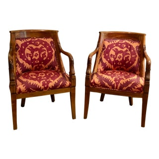 Regency-Style Carved Wood Chairs With Silk Taffeta - a Pair For Sale