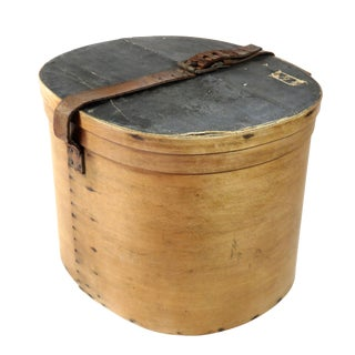 Antique Early American Bentwood Hat Box For Sale