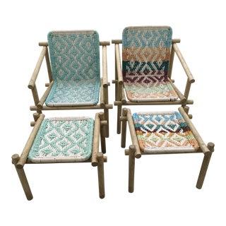 Saint Tropez Wood & Rope Chairs & Ottomans - A Pair