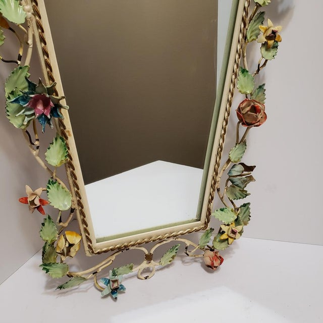 Cream Vintage Italian Shabby Chic Floral Tole Wall Mirror For Sale - Image 8 of 10