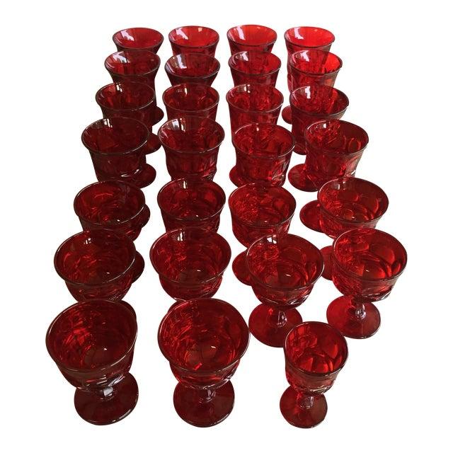 Fostoria Red Glasses - Set of 27 - Image 1 of 6