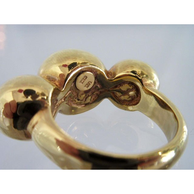 1970s Vintage 14k Gold Italian Ring With Three Round Balls For Sale - Image 5 of 6