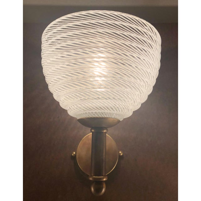 Metal Vintage Barovier E Toso Ribbed Murano Glass Sconces - a Pair For Sale - Image 7 of 10