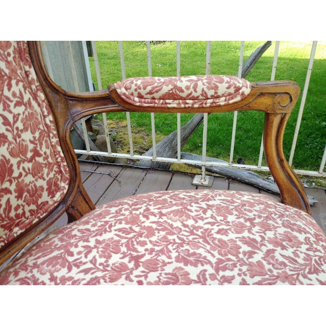 Vintage Louis XV French Carved Fruitwood Hardwood Arm Side Chair With Jacquard Upholstery For Sale - Image 10 of 13