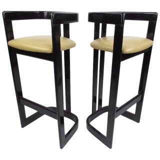 Pair of Contemporary Black Lacquer Counter Stools For Sale