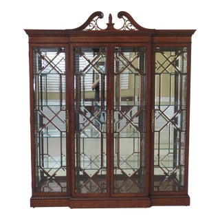 Karges 4 Door Beveled Glass Mahogany Curio Cabinet For Sale