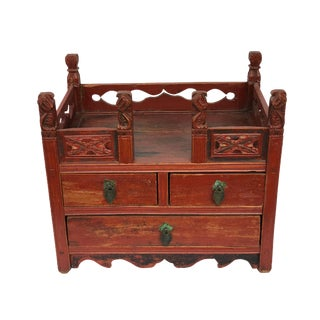 """Antique L Chinese Red Lacquer Wood Box/ Display Chest 17.5"""" W by 15.5"""" H For Sale"""