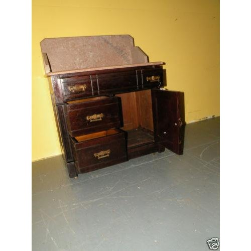 Antique Eastlake Style Marble Top Dry Sink Table - Image 6 of 9