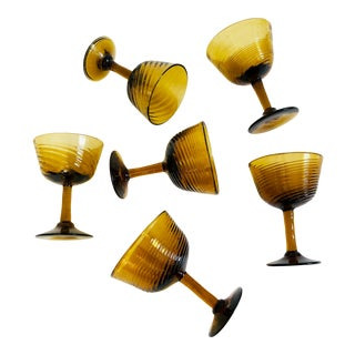 Vintage Amber Swirl Blown Glass Coupes - Set of 6 For Sale