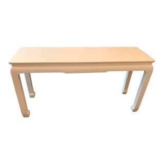Baker Lacquered Grass Cloth Console Table For Sale