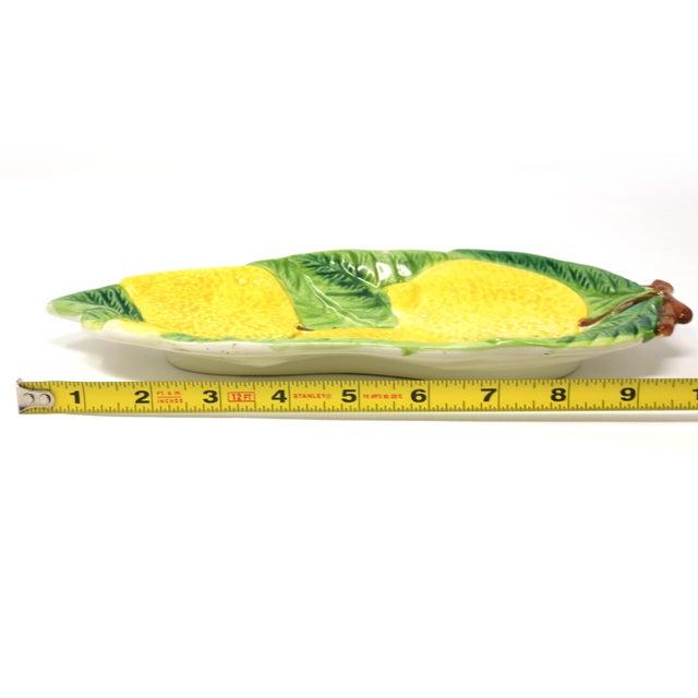 Vintage Italian Majolica Lemons and Leaves Dish For Sale - Image 9 of 10