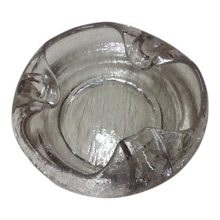 Mid-Century Crackle Glass Ashtray For Sale