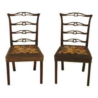 Antique Childs Size Ribbon Back Mahogany Chairs - a Pair For Sale