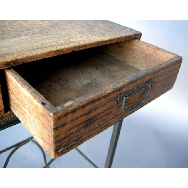 Metal Antique Japanese Storage Box On Handwrought Iron Base For Sale - Image 7 of 8