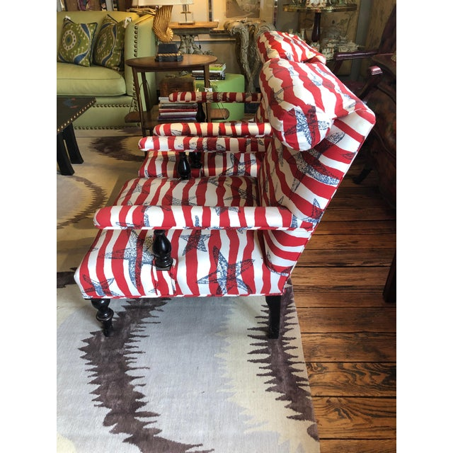 2000 - 2009 Red White and Blue Upholstered Club Chairs- a Pair For Sale - Image 5 of 13