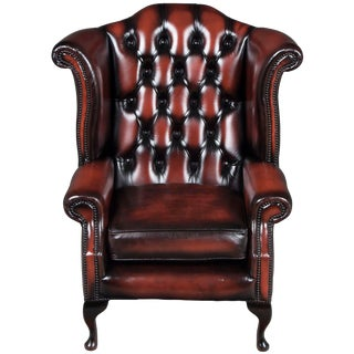 Red Tufted Leather Wing Back Arm Chair For Sale