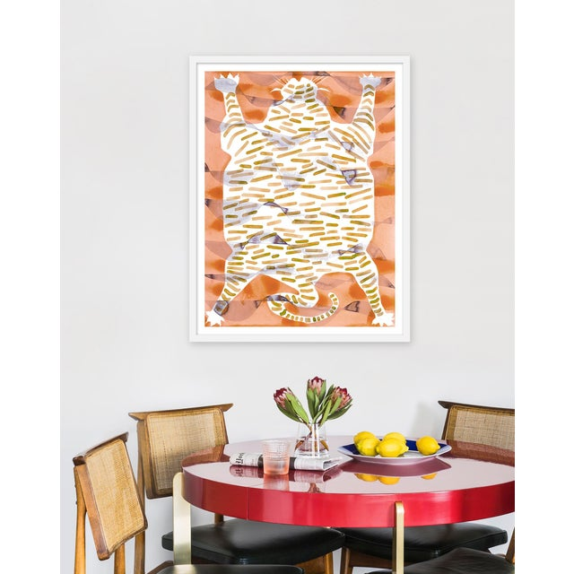 "Contemporary Medium ""Tiger Rug Camel & Tan"" Print by Kate Roebuck, 27"" X 35"" For Sale - Image 3 of 4"