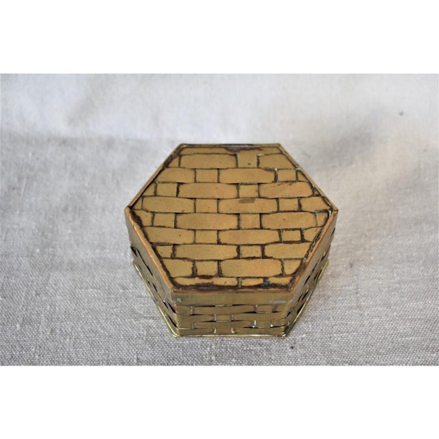 1970s Hexagon Brass Basketweave Box For Sale - Image 4 of 6