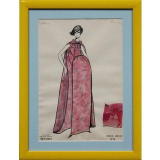 "Nina Ricci ""Petunia'"" 77 Watercolor Painting For Sale"