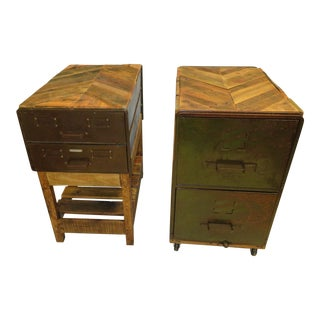 Industiral End Tables - a Pair For Sale
